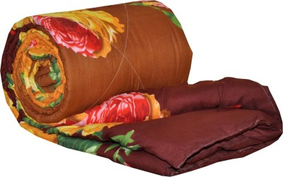 AJ Home Floral Single Quilts & Comforters Brown