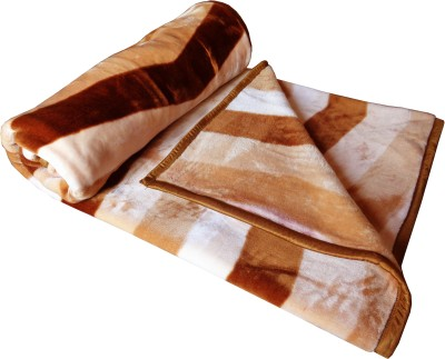 TAG Products Striped Double Blanket Brown