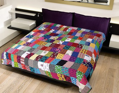Krishnam Checkered Double Blanket Yellow, Multicolor