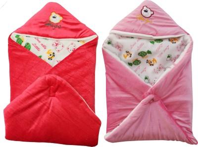 My NewBorn Cartoon Crib Hooded Baby Blanket Orange, Pink