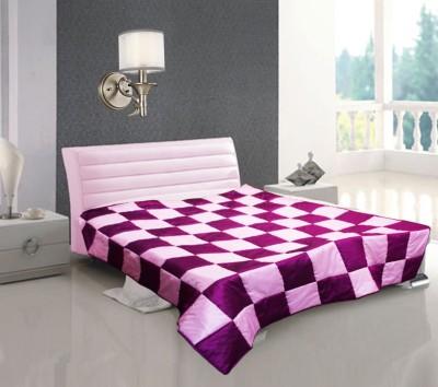 Zikrak Exim Checkered Single Blanket Pink, Fushia