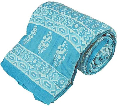 Little India Floral Single Quilts & Comforters Blue