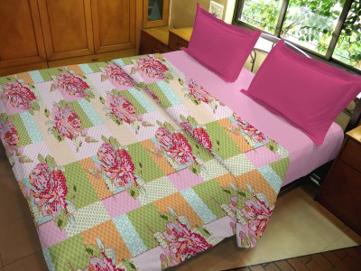 Hemlines Floral Double Duvet Pink, Green, Red