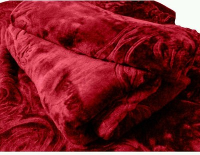 Radhika Creation Floral Double Blanket Maroon
