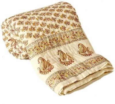 Shreemangalammart Floral Single Quilts & Comforters Cream