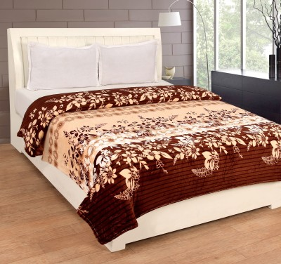 Bed & Bath Floral Double Blanket Brown, Beige, White