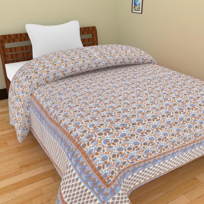 Shra Floral Single Quilts & Comforters Blue, Brown