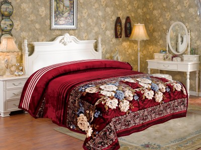 Signature Floral Double Blanket Maroon