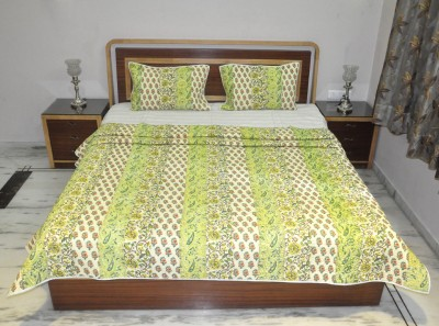 Lal Haveli Floral Queen Quilts & Comforters Green