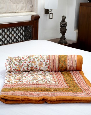 Jodhaa Floral Single Quilts & Comforters White, Brown