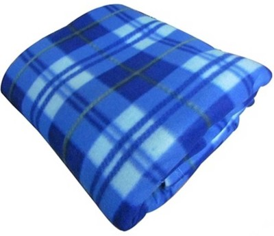 Shiv Fabs Checkered Double Blanket Blue