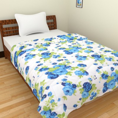 Ridan Floral Single Quilts & Comforters White, Blue