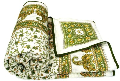 Sudharaj Floral Double Blanket Green