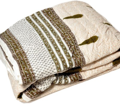 Kiran Udyog Floral Double Quilts & Comforters Brown, White