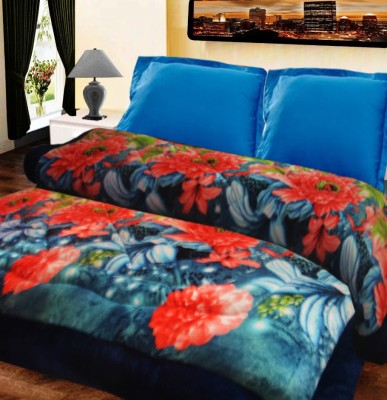 Loomkart Floral Double Quilts & Comforters Blue