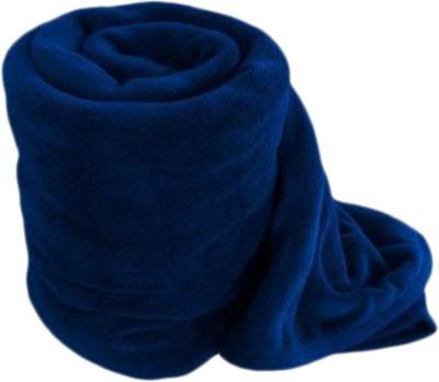 Saksham Plain Double Blanket Blue