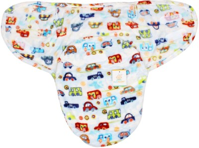 Ole Baby Different cars print on white color base Comfortable Swaddle Blanket, Adjustable Infant Wrap With Velcro Closure , Soft Furry 0-6 months Sleeping Bag