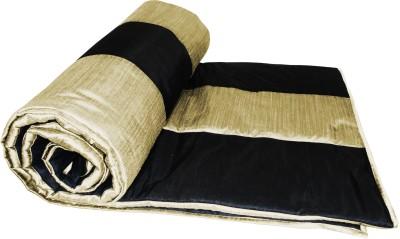 Zikrak Exim Striped Single Quilts & Comforters Black, Beige