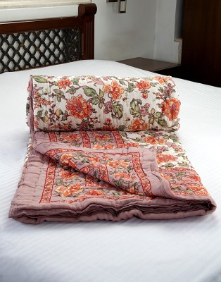 Jodhaa Floral Double Quilts & Comforters White, Brown