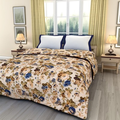 eCraftIndia Floral Double Blanket Blue, Green and White