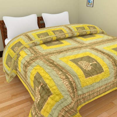 Shra Geometric Double Quilts & Comforters Green, Yellow