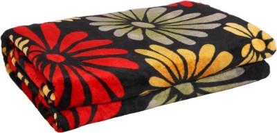 Gujattire Floral Double Blanket Black