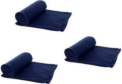 Aazeem Plain Single Blanket Blue