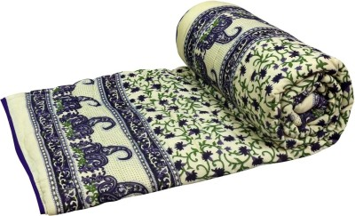 Buy Clues Floral Single Quilts & Comforters Dark Blue
