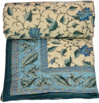 Stole & Yarn Floral Double Quilts & Comforters Blue
