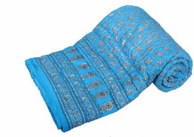 Jaipurtextilehub Floral Double Quilts & Comforters Light Blue