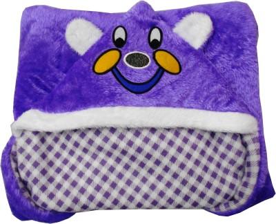 Silver Stone Cartoon, Checkered Single Hooded Baby Blanket Purple