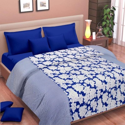Cortina Floral Double Dohar Blue, White