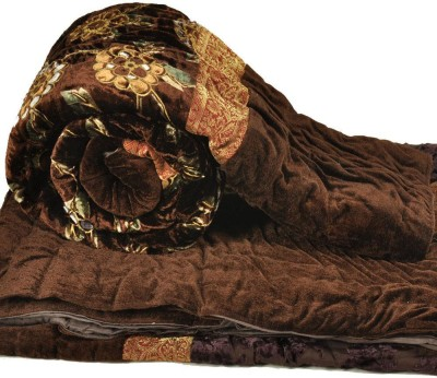 Shreemangalammart Floral Single Quilts & Comforters Coffee Brown