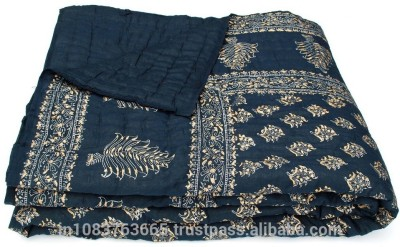 Bagrastore Paisley Single Quilts & Comforters Dark Black