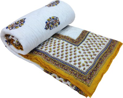 Shop Rajasthan Floral Double Quilts & Comforters Yellow, White
