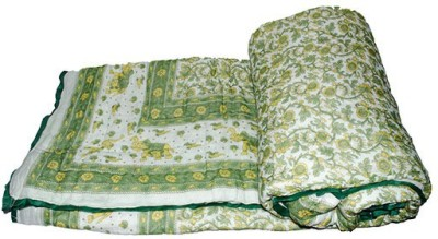 The Ethnic Story Floral Double Quilts & Comforters Green
