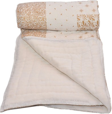 Stole & Yarn Floral Single Quilts & Comforters Gold