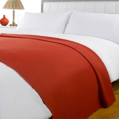 Shopgalore Plain Double Blanket Orange