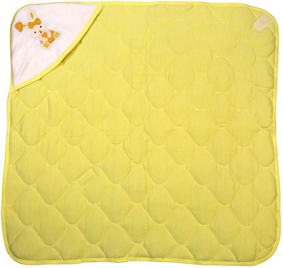 Brim Hugs & Cuddles Self Design Crib Hooded Baby Blanket Yellow(1 Hooded Baby Blanket)