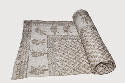 Buy Clues Floral Single Quilts & Comforters Cream