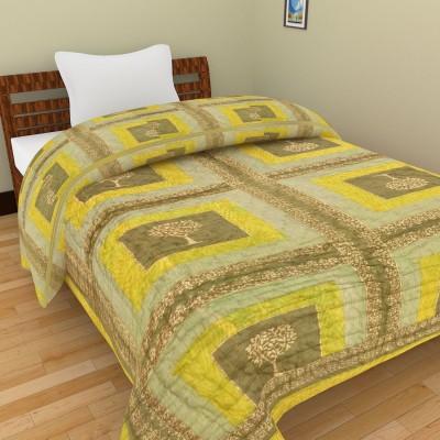 Shra Geometric Single Quilts & Comforters Yellow, Green