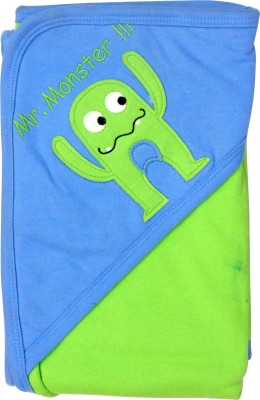 1st Step Printed Single Hooded Baby Blanket Green, Blue