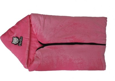 Silver Stone Plain Single Hooded Baby Blanket Pink