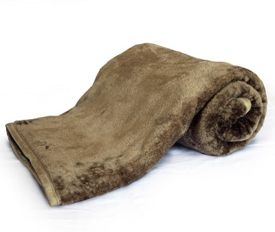 Home India Plain Double Blanket Brown