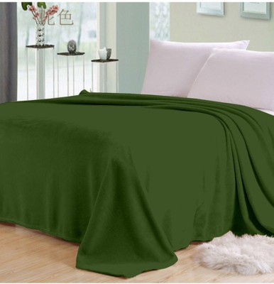 Shiv Fabs Plain Single Blanket Green