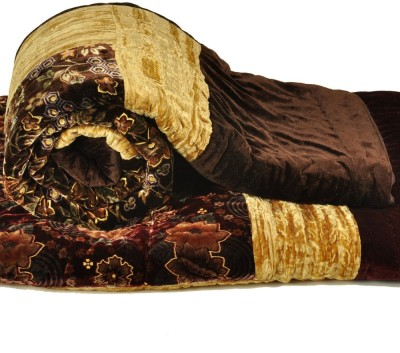 Kiran Udyog Floral Double Quilts & Comforters Brown