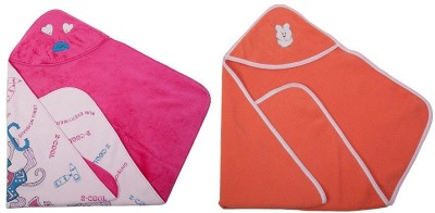 Utc Garments Cartoon, Plain Single Hooded Baby Blanket Pink, Orange, White