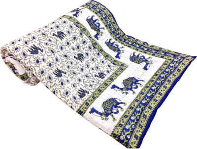 Factorywala Printed Single Quilts & Comforters Dark Blue