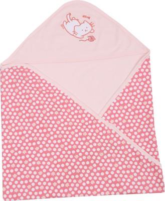 Lula Embroidered Crib Hooded Baby Blanket Pink