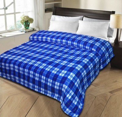 Shopgalore Checkered Single Blanket Blue